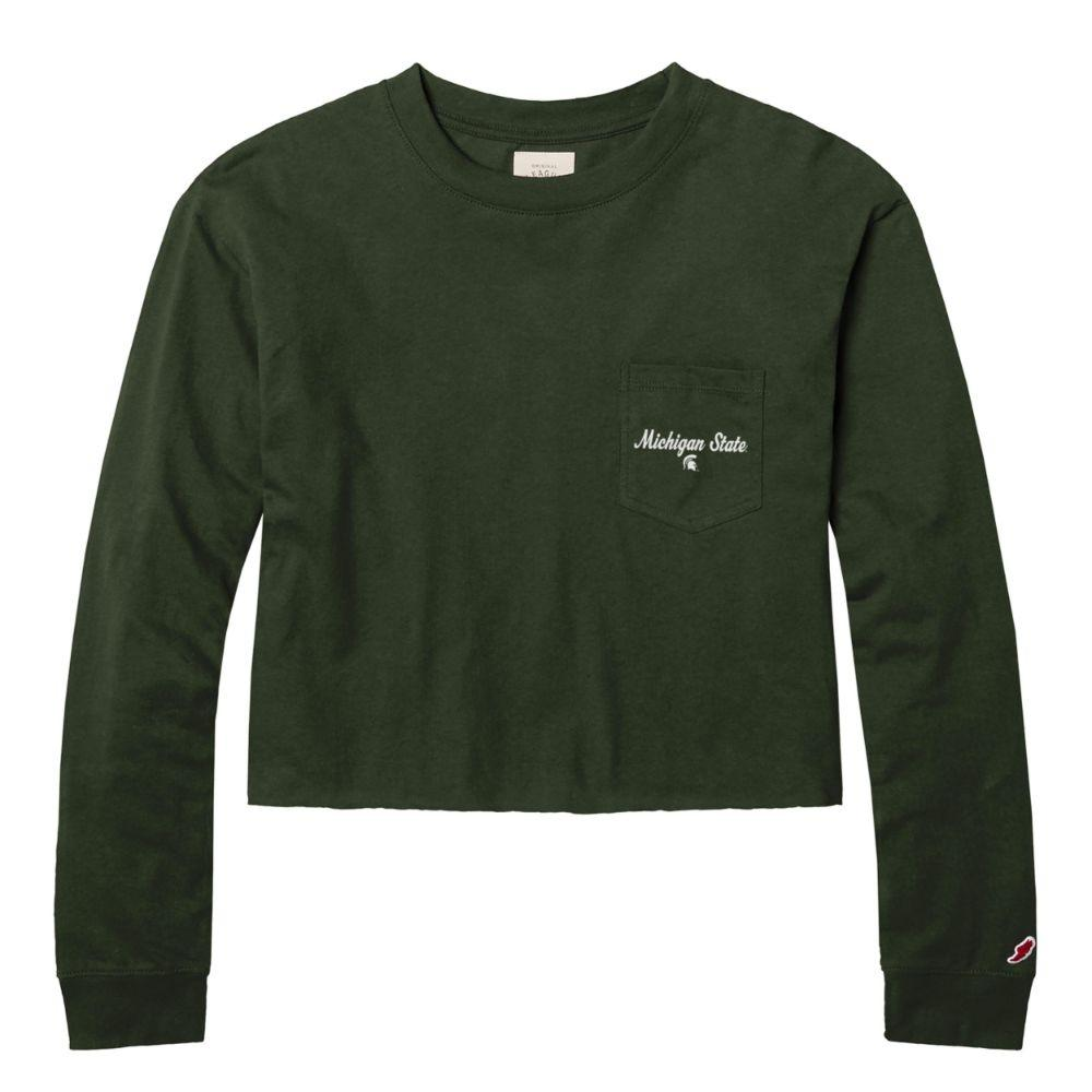 Michigan State League Clothesline Long Sleeve Crop Top