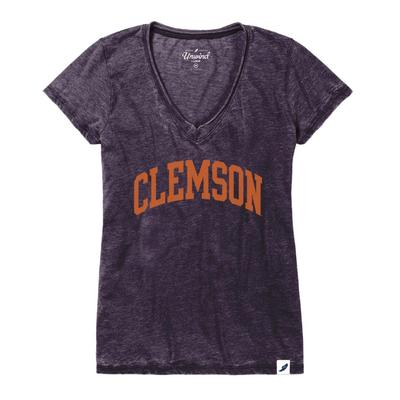 Clemson League Distressed Burnout V-Neck