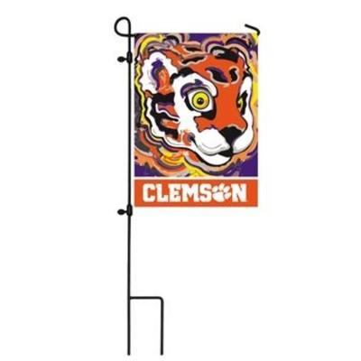 Clemson Suede Garden Flag