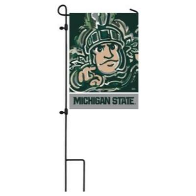 Michigan State Suede Garden Flag