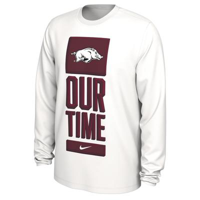 Arkansas Nike Our Time Bench YOUTH Long Sleeve Tee