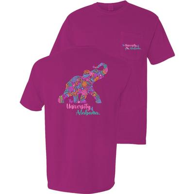 Alabama Blooming Elephant Comfort Colors Pocket Tee