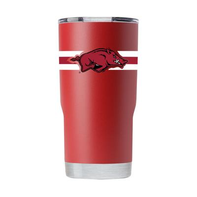 Arkansas 20 oz Primary Logo with Team Color Stripes Tumbler