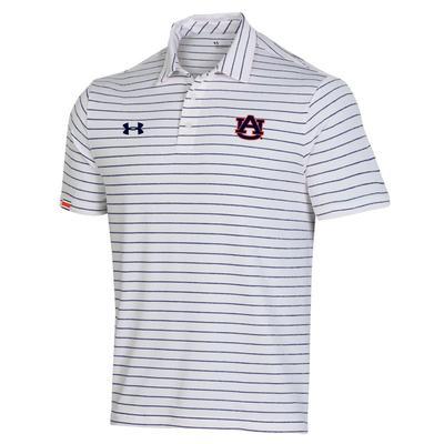 Auburn Under Armour Easy Stripe Polo WHITE