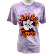 Clemson League Retro Tie Dye Crew Tee Shirt