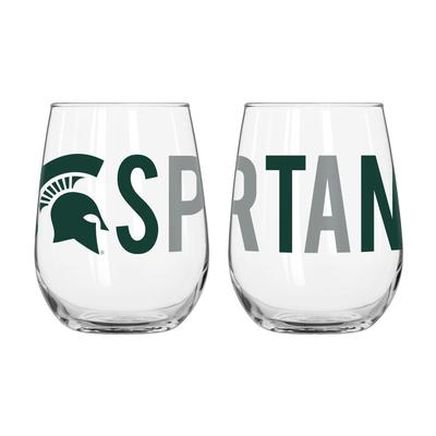 Michigan State Overtime Curved Beverage Glass