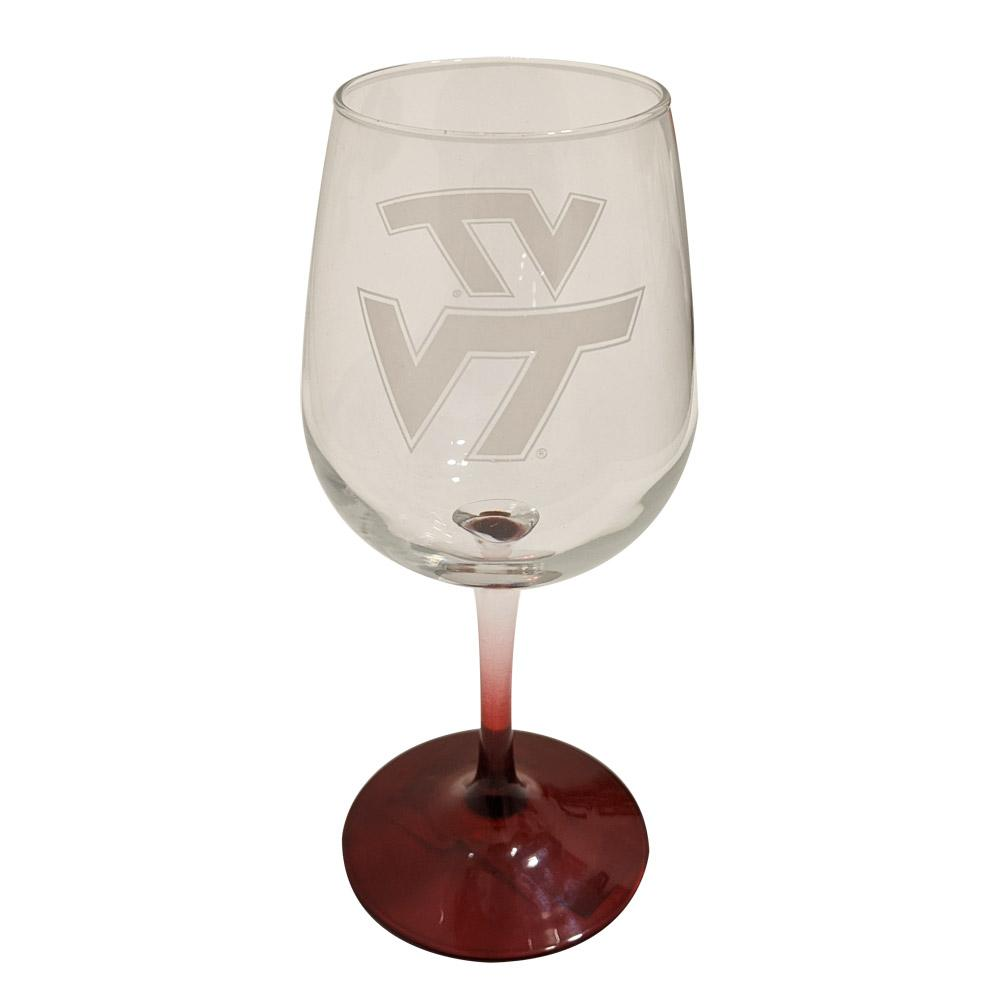 Virginia Tech 12 Oz.Satin Etched Wine Glass