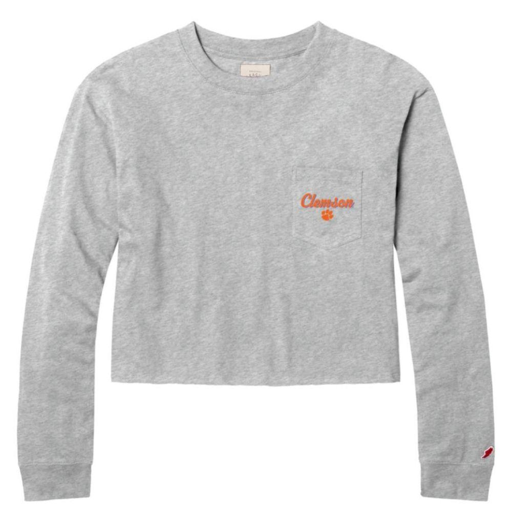 Clemson League Clothesline Long Sleeve Crop Top