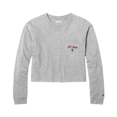 NC State League Clothesline Long Sleeve Crop Top