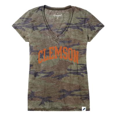 Clemson League Burnout Camo V- Neck