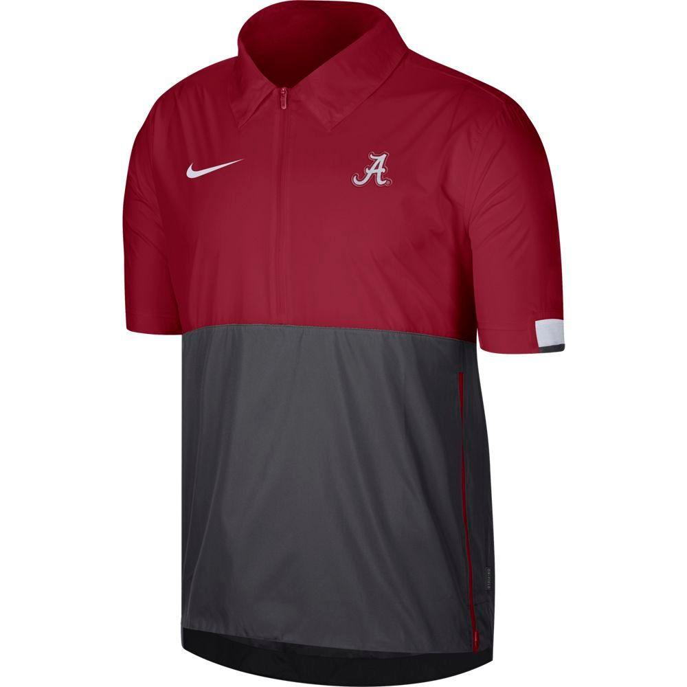 Alabama Nike Men's Lightweight Coach Short Sleeve Jacket