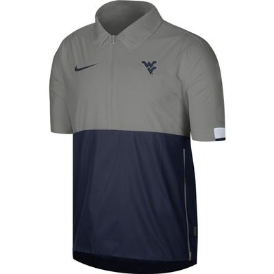 West Virginia Nike Men's Lightweight Coach Short Sleeve Jacket