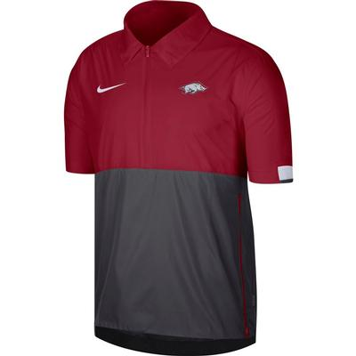 Arkansas Nike Men's Lightweight Coach Short Sleeve Jacket