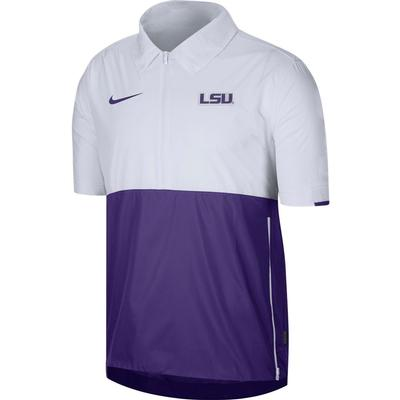 LSU Nike Men's Lightweight Coach Short Sleeve Jacket