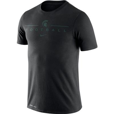 Michigan State Nike Men's Dri-fit Icon Football Word Tee BLACK