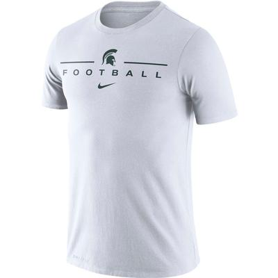 Michigan State Nike Men's Dri-fit Icon Football Word Tee WHITE
