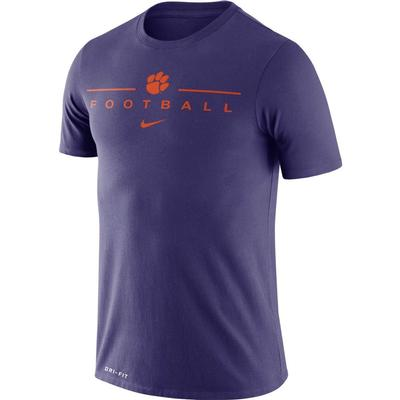 Clemson Nike Men's Dri-fit Icon Football Word Tee NEW_ORCHID