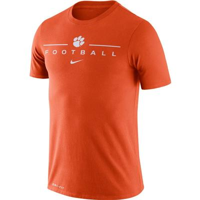Clemson Nike Men's Dri-fit Icon Football Word Tee ORANGE