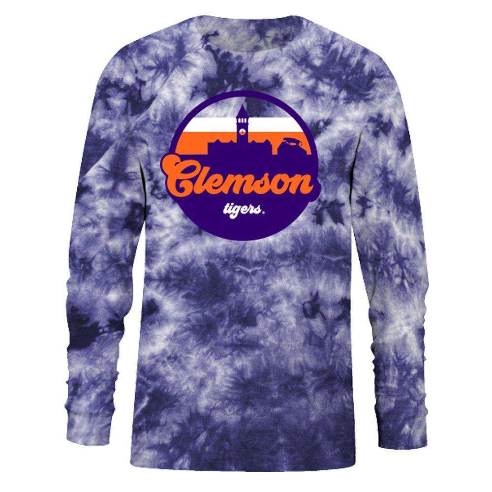 Clemson Tie Dye Crystal Wash Long Sleeve Tee