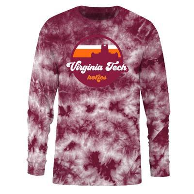 Virginia Tech Tie Dye Crystal Wash Long Sleeve Tee