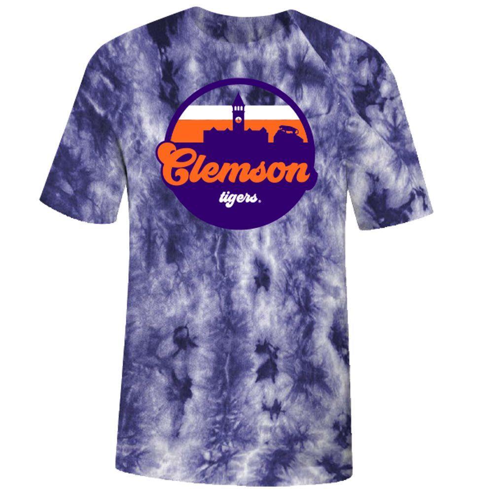 Clemson Tie Dye Crystal Wash Short Sleeve Tee
