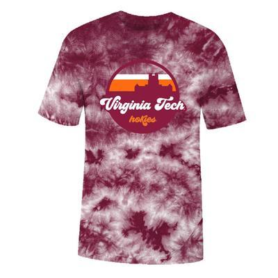 Virginia Tech Tie Dye Crystal Wash Short Sleeve Tee