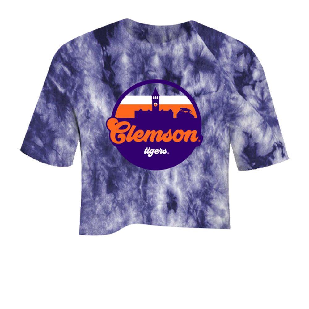 Clemson Tie Dye Crystal Wash Crop Top