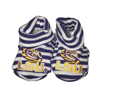 LSU Infant Striped Booties