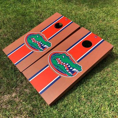 Florida Victory Tailgate Rosewood Stripe Gatorhead Cornhole Set