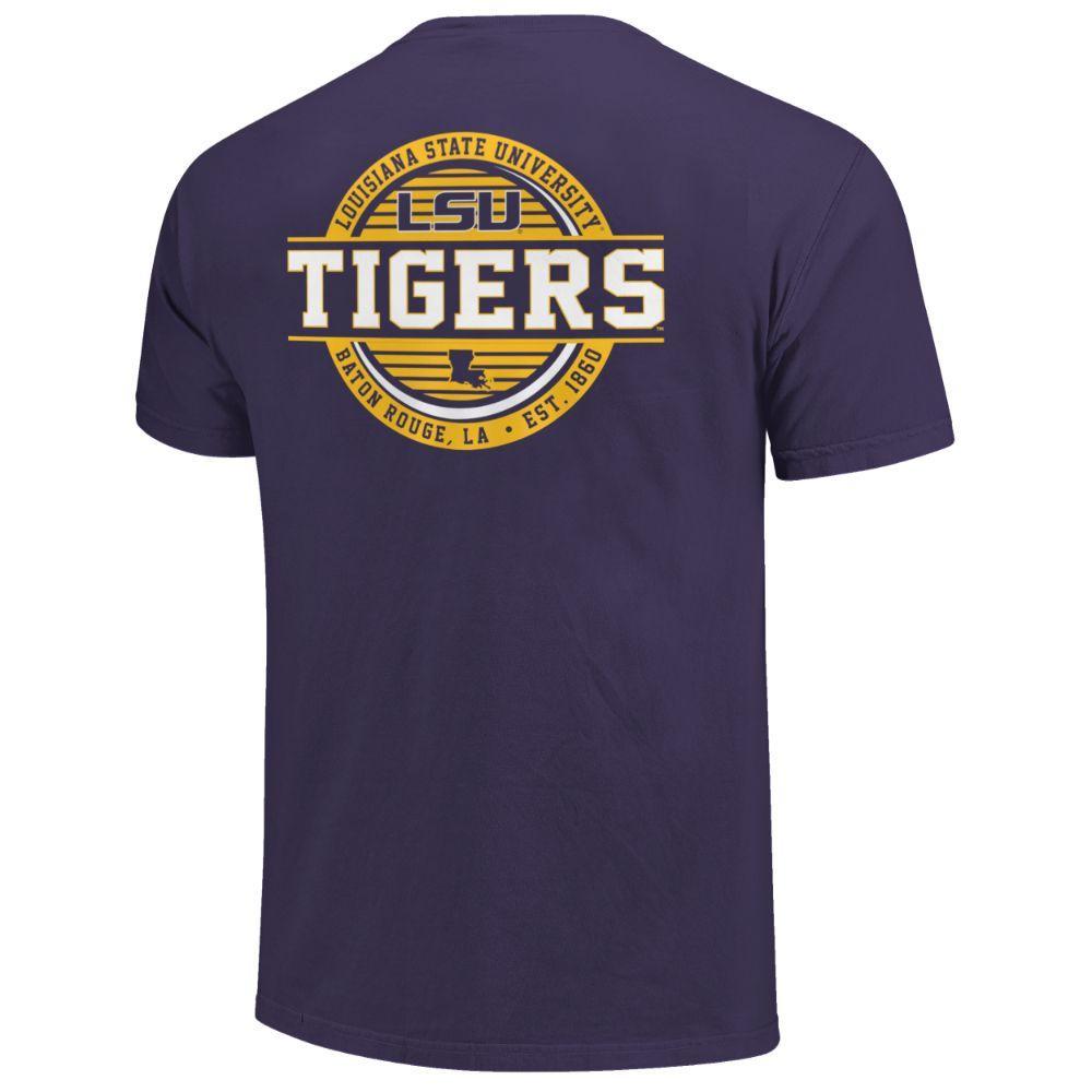 Lsu Striped Stamp Comfort Colors Shirt
