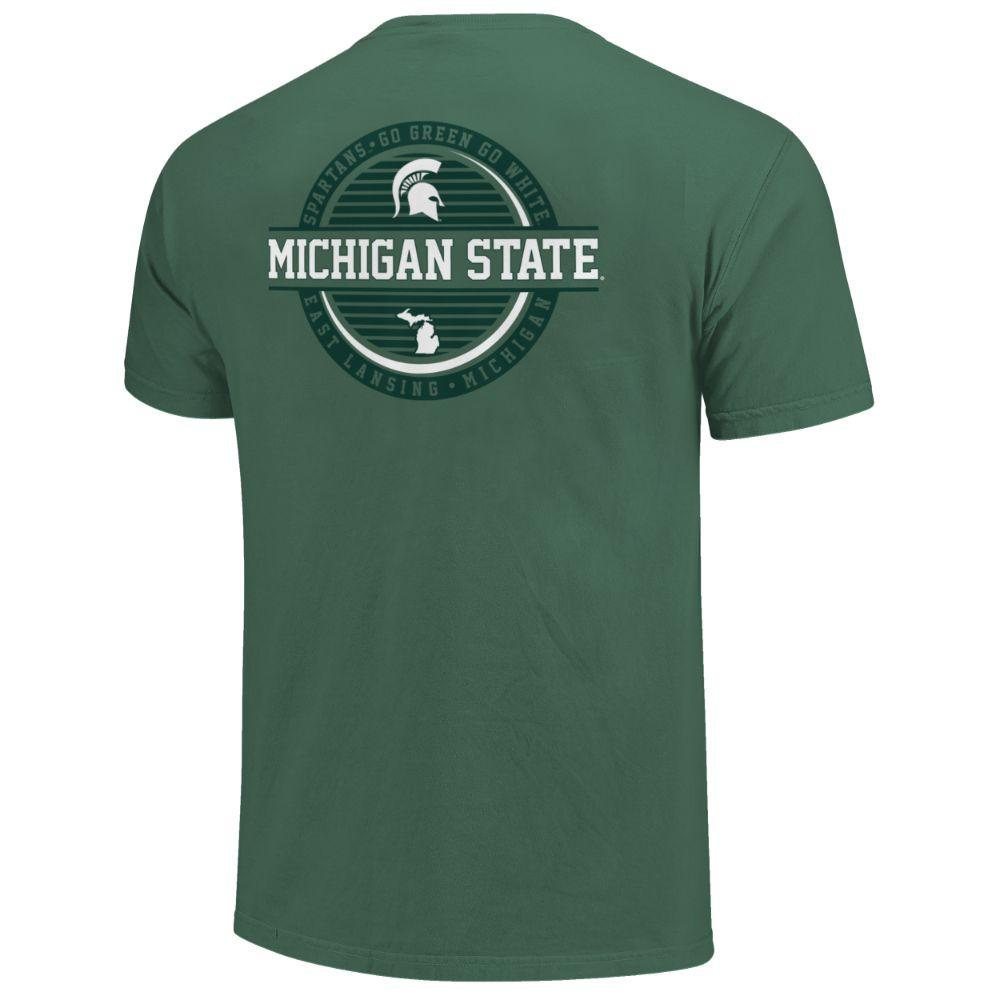 Michigan State Striped Stamp Comfort Colors Shirt