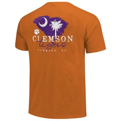Clemson Tigers State Outline Comfort Colors Shirt