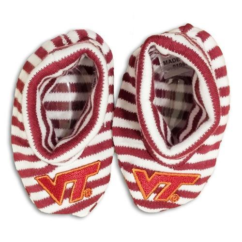 Virginia Tech Striped Baby Booties