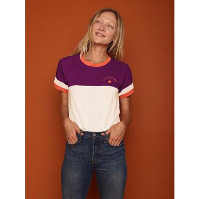 Clemson CAMP Collection Romy Color Block Stripe Sleeve Tee