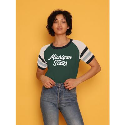 Michigan State CAMP Collection Holly 3 Cropped Stripe Sleeve Tee
