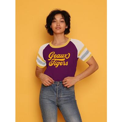 LSU CAMP Collection Holly 3 Cropped Stripe Sleeve Tee