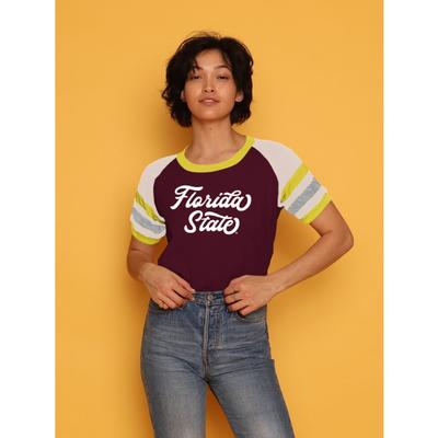 FSU CAMP Collection Holly 3 Cropped Stripe Sleeve Tee