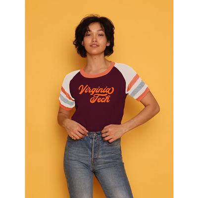 Virginia Tech CAMP Collection Holly 3 Cropped Stripe Sleeve Tee