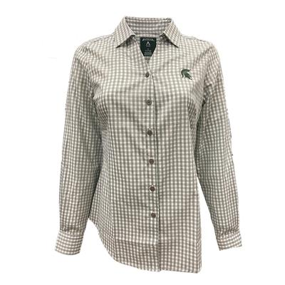 Michigan State Antigua Women's Structure Gingham Woven Top
