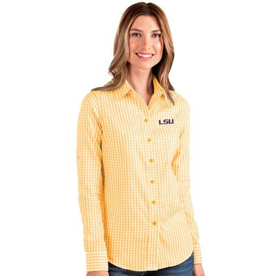 LSU Antigua Women's Structure Gingham Woven Top