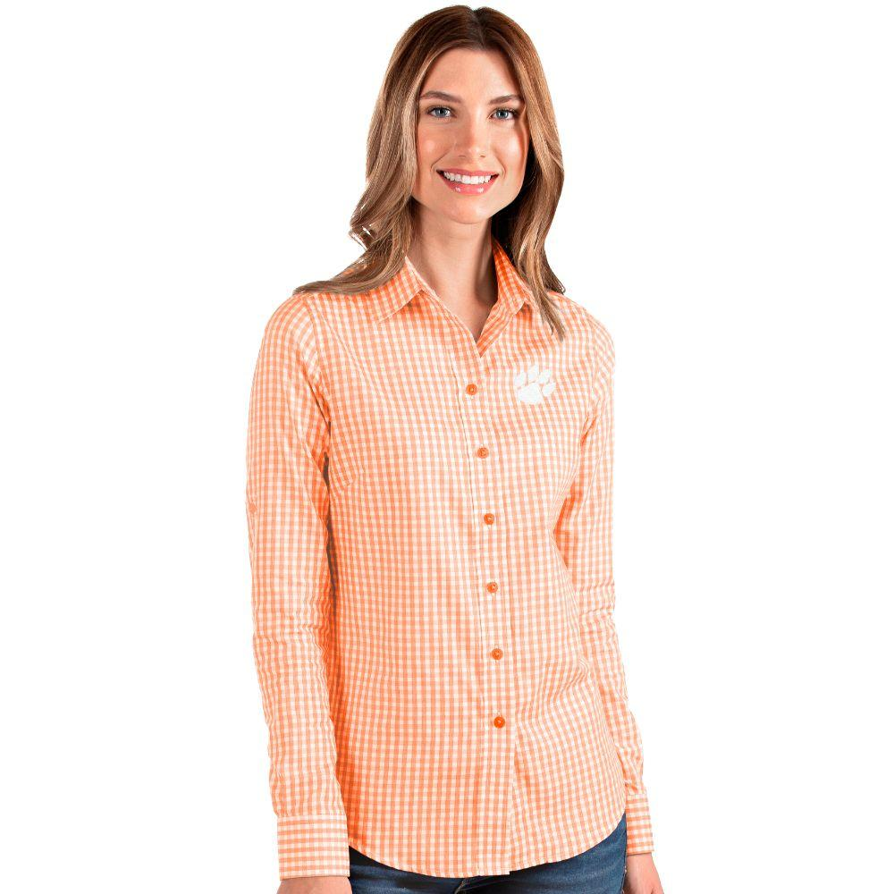 Clemson Antigua Women's Structure Gingham Woven Top