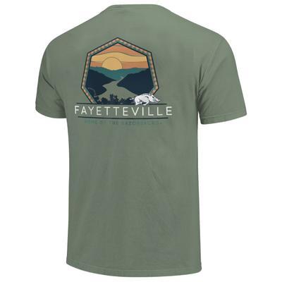 Arkansas Men's Landscape Badge Rivers Short Sleeve Comfort Colors Tee