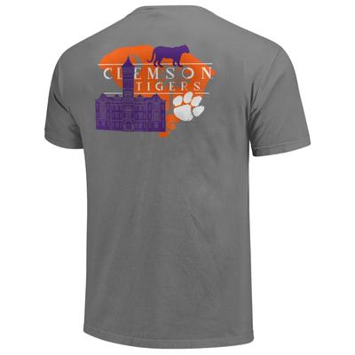 Clemson Men's Campus Building State Short Sleeve Comfort Colors Tee