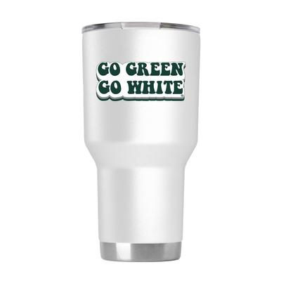 Michigan State 30 oz White 70s Bubble Font Tumbler