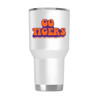 Clemson 30 oz White 70s Bubble Font Tumbler