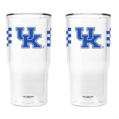 Kentucky 16 oz 2-Pack with Primary Logo/Stripe Glasses