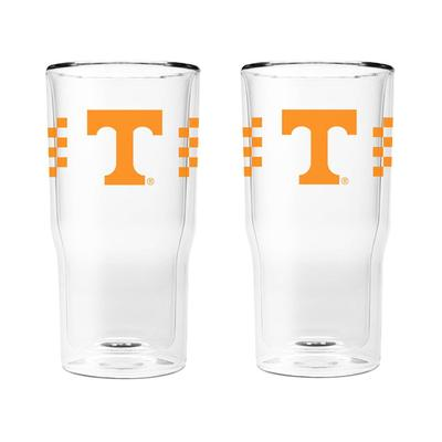 Tennessee 16 oz 2-Pack with Primary Logo/Stripe Glasses