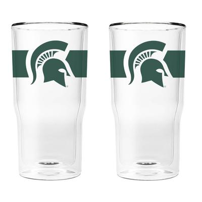Michigan State 16 oz 2-Pack with Primary Logo/Stripe Glasses