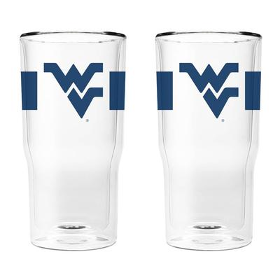 West Virginia 16 oz 2-Pack with Primary Logo/Stripe Glasses