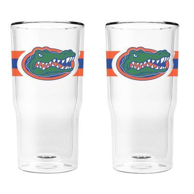 Florida 16 oz 2-Pack with Primary Logo/Stripe Glasses